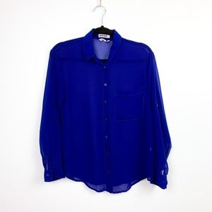 🌼2/$22🌼 Royal Blue Sheer Button-Up